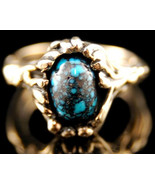 14K Gold Genuine OLD LANDER BLUE Turquoise Ring... - $2,650.00