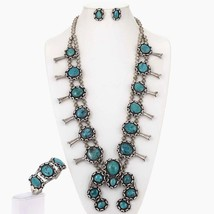 Vintage Old Pawn TURQUOISE SQUASH BLOSSOM Neckl... - $2,559.00