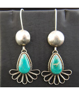 Navajo Natural FOX TURQUOISE Earrings Sterling Silver Dangles by B Martinez - $449.00