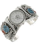 Mens Turquoise & Coral Watch | Big Boy Bracelet... - $699.00 - $729.00