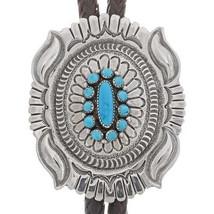 Navajo Sterling Silver Sleeping Beauty Turquoise Bolo Tie Native Tom Aha... - $669.00