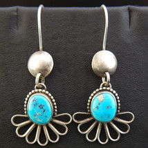 Navajo Natural MORENCI TURQUOISE Earrings Sterling Silver Dangles by B M... - £361.93 GBP