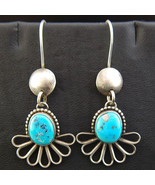Navajo Natural MORENCI TURQUOISE Earrings Sterling Silver Dangles by B M... - $469.00