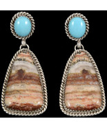 Navajo Sterling Silver Travertine Onyx & Turquoise Dangle Earrings Nativ... - $148.00