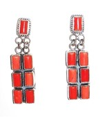Native American Navajo Sterling Silver Red Coral Dangle Earrings by D De... - $269.00