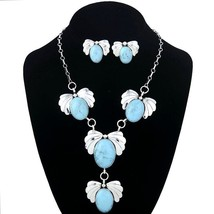 Native American Navajo Sterling Silver Turquoise Squash Blossoms Y Necklace - $539.00