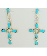 Vintage Zuni Sleeping Beauty Turquoise Cross Earrings Sterling Silver Da... - $129.00