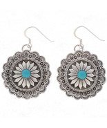 Navajo Sterling Silver Turquoise Concho Dangle Earrings Native American ... - $125.00