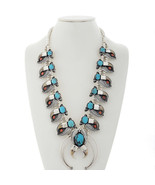 Turquoise Coral Squash Blossom Necklace | Faux ... - $1,559.00