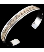 Native American Navajo Sterling Silver 12KGF Twisted Rope Cuff Bracelet ... - $149.00
