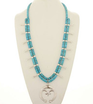 TURQUOISE SQUASH BLOSSOM NECKLACE Sterling Silv... - $699.00