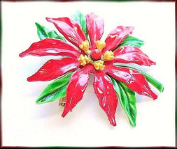 Vintage 1960s Enameled Single Red Poinsetta Christmas Brooch Pin - $89.00