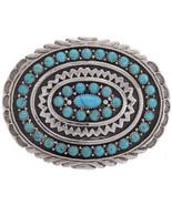 Turquoise Belt Buckle | Navajo Garrison Boyd | Sterling Silver Arizona K... - $760.00