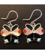 Zuni Indian Sterling Silver Turquoise Multi-Gems Inlay Butterfly Dangle ... - $89.00