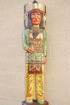 Frank Gallagher 6' Green Shirt CIGAR STORE INDIAN Chief Carved Wooden Sc... - $1,565.00