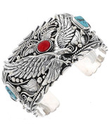 Navajo Turquoise Coral Eagle Bracelet Sterling Silver Cuff s7-7.5 Tom Ah... - $849.00+