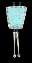 Native American Zuni Sterling Silver Turquoise Inlay Bolo Tie - $559.00