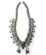 Vintage 1950s Coin Silver MERCURY DIMES Turquoise Squash Blossom Necklac... - $5,650.00