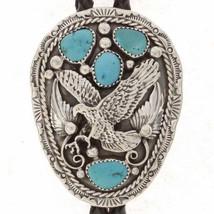 Navajo Turquoise Sterling Silver Eagle Mens Bolo Tie Native American T A... - $289.00