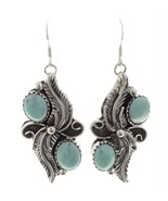 Navajo Sterling Silver Turquoise Feathers Dangle Earrings Native America... - $109.00