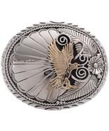 Navajo Golden Eagle Belt Buckle Silver Feathers... - $299.00