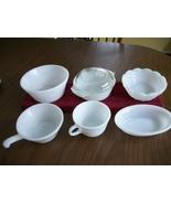 6pc  Vintage white glass milk  Lot  Anchor Hoki... - $21.50