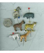 6 Peruvian Porcelain Jungle Animal Beads Miniat... - $6.00