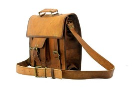 """Leather Messenger Bag 15"""" Vintage Brown Satchel Shoulder Laptop Briefcase Bag image 5"""