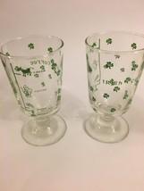 NICE PAIR VINTAGE LIME GREEN CLOVERS IRISH COFFEE STEM GLASSES PEDESTAL ... - $19.80