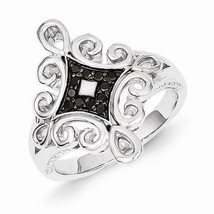 STERLING SILVER .13CT BLACK  DIAMOND SCROLL  RING - SIZE 6 - £109.77 GBP