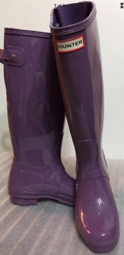 ... New Classic Hunter Tall Glossy Shiny Women Boots Purple Sz 5 Back Adjust  ...