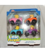 NEW Fisher Price Little People Wheelies 4 Pack Sports Car Hot Rod Rally Car 4x4 - $12.86