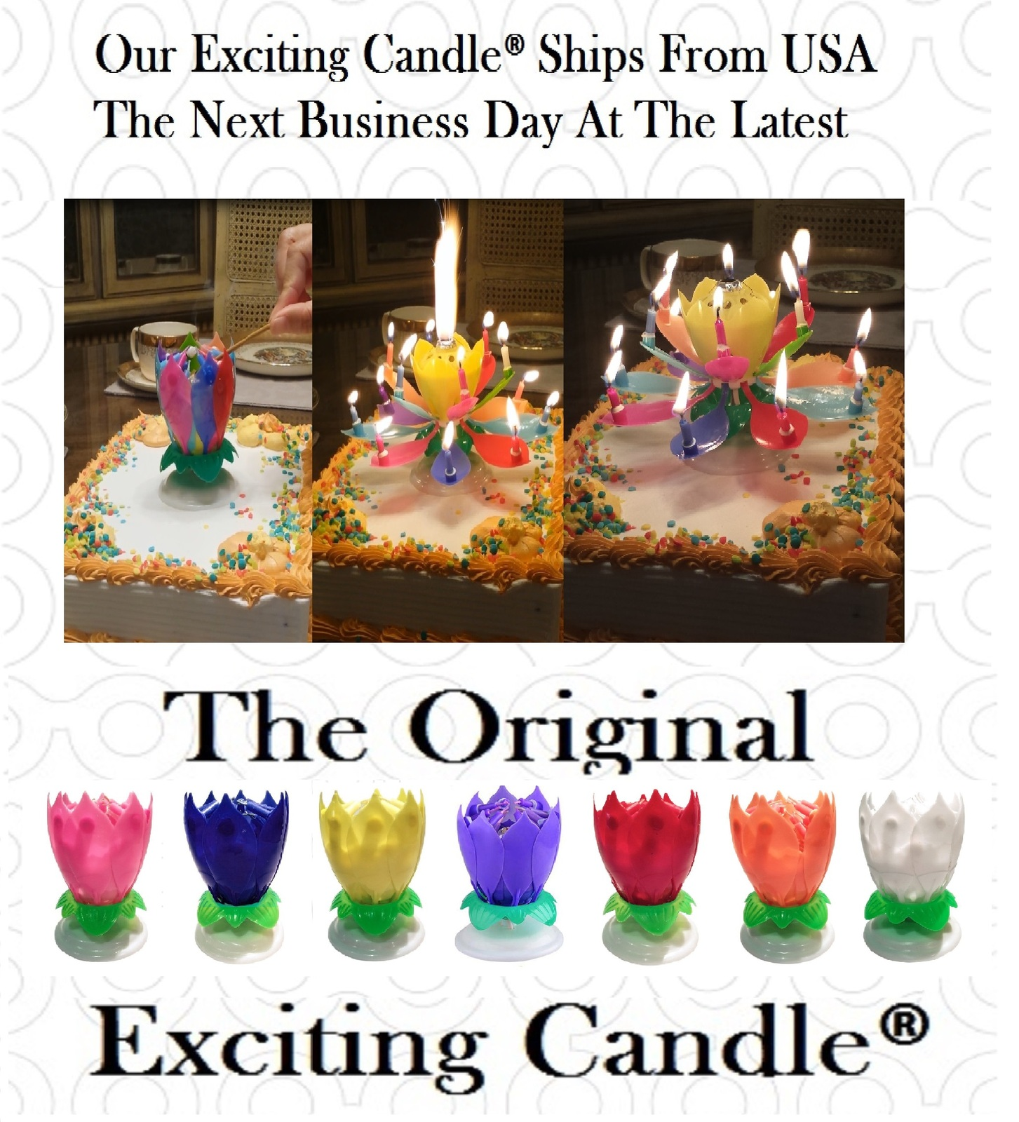 2 Rainbow Amazing Lotus Flower Happy Birthday Candle  Original EXCITING CANDLE ®
