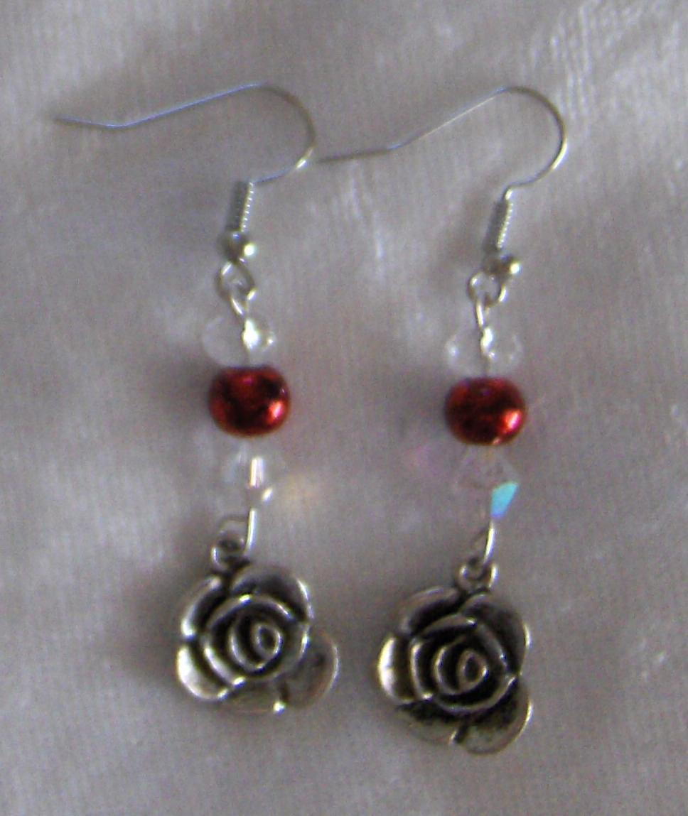 Silver Rose,Crystals and Red Dangle Earrings