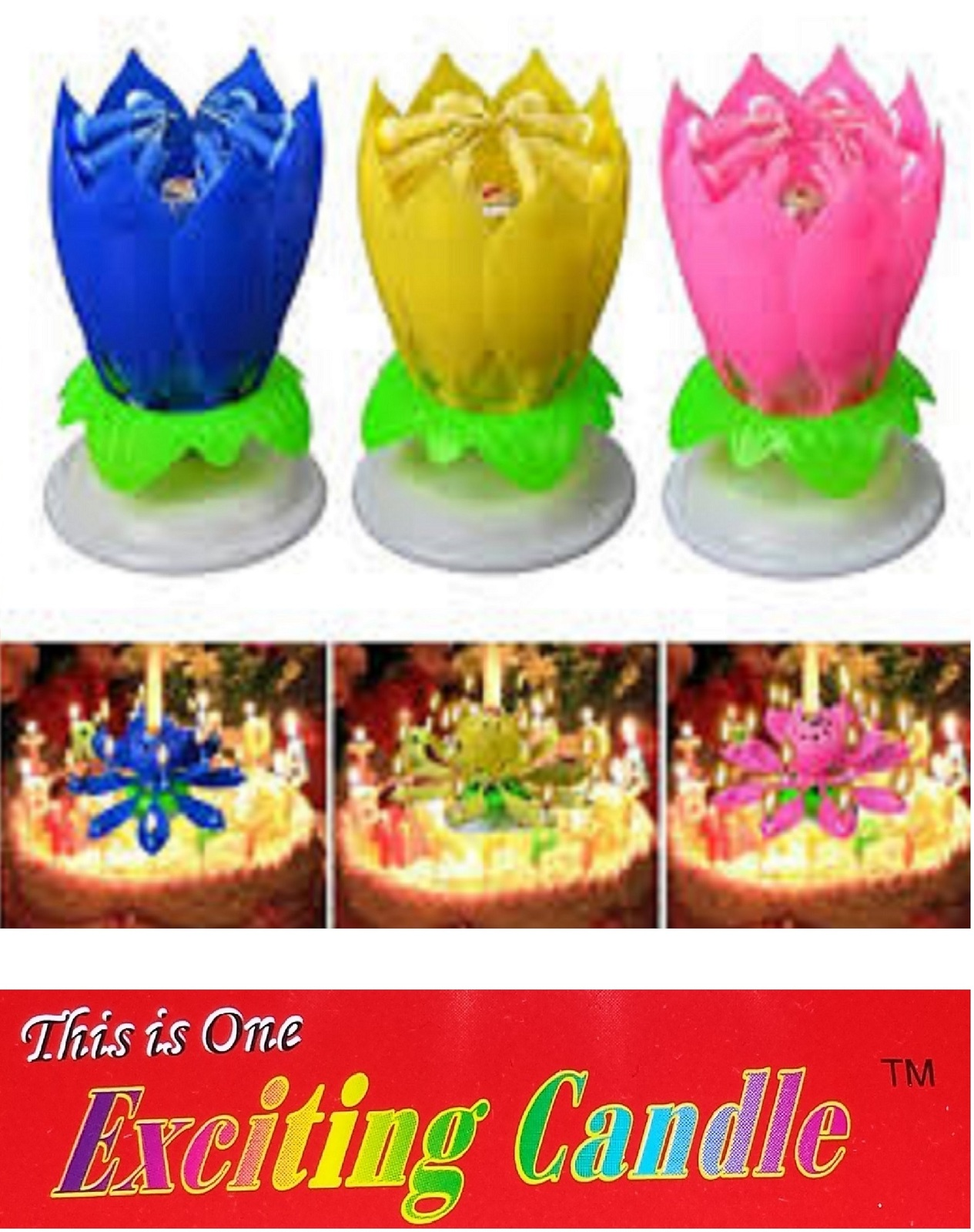 1 Pink + 1 Blue + 1 Yellow  Amazing Lotus Flower Happy Birthday EXCITING CANDLE