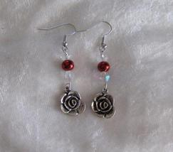 Silver Rose,Crystals and Red Dangle Earrings  - $7.00