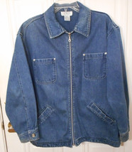 Talbots Blue Stretch Denim Jean Jacket Sz PS Petite Small Zipper Front 4... - $25.00