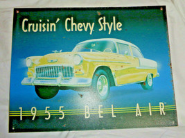 Vtg Advertising Tin Sign Cruisin' Chevy Style 1955 BEL AIR Yellow Chevrolet - $28.49