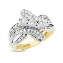 0.50 Ct. Natural Diamond Twisted Crossover Ring In Solid 10k Yellow Gold - $373.07