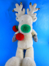 """Applause Plush White Reindeer ? Moose?  with jingle bells 16"""" Snobell SU... - $15.14"""