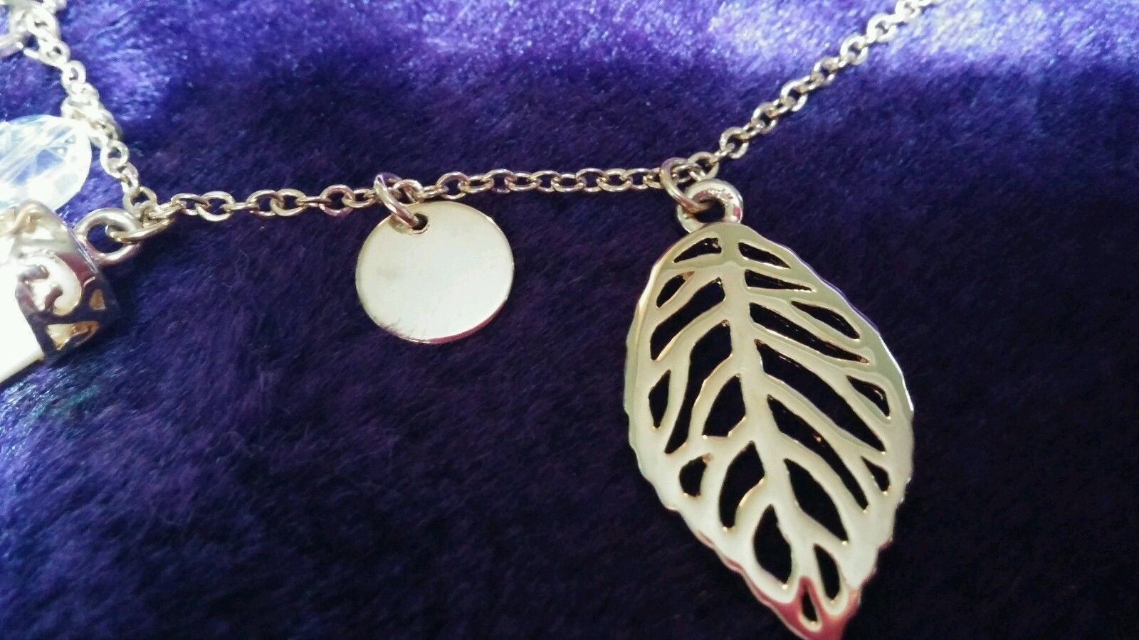 Faux Ivory Tusk Charm Necklace Lucky Goldtone Adjustable