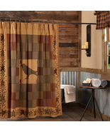 HERITAGE FARMS CROW SHOWER CURTAIN 72X72 Rustic Log Home Lake Christmas ... - $80.14