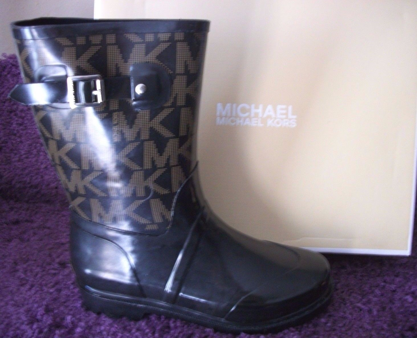 "Primary image for $99 Michael Kors ""MK"" Logo Black Rubber Rain Pull-On Boots 9 M Mid Calf"