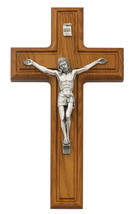 Walnut Wood Silver Corpus 10 Inch Religious Catholic Christian Wall Cruc... - $59.99