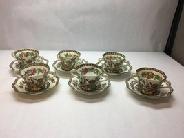 VINTAGE Coalport CHINA Indian SUMMER Pattern SET OF 6 Bullion CUPS AND S... - $178.19