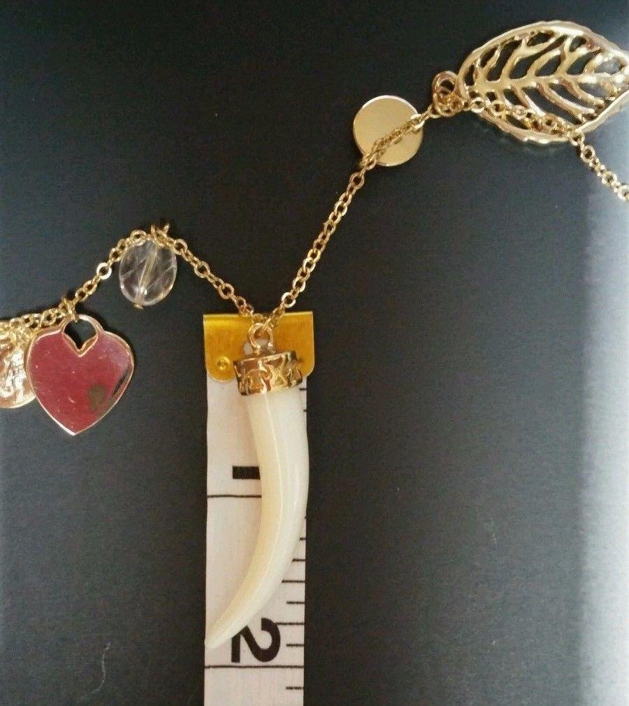 Faux Ivory Tusk Charm Necklace Lucky Goldtone Adjustable image 6