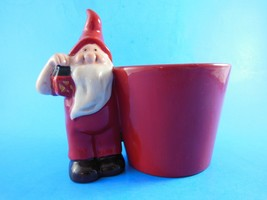 "Red Ceramic Gnome Vase Candy Dish ? 6"" X 5"" Excellent condition - $7.42"