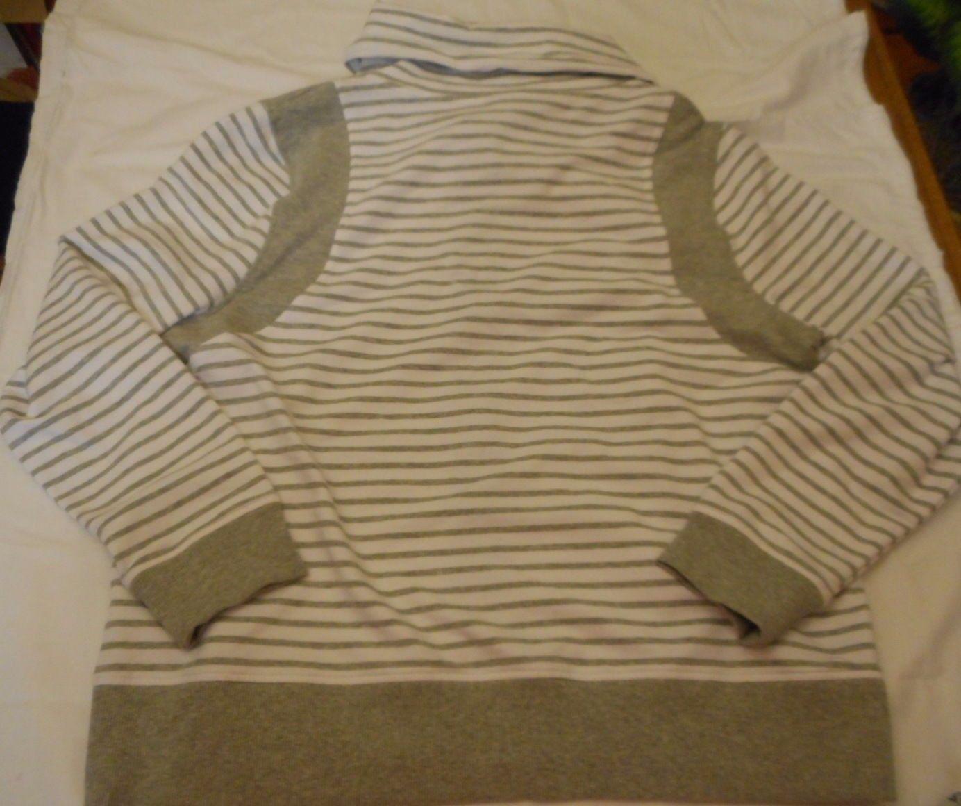 Women's Laura Scott Cowl Neck Striped Zipper Jacket Gray Size Large NEW