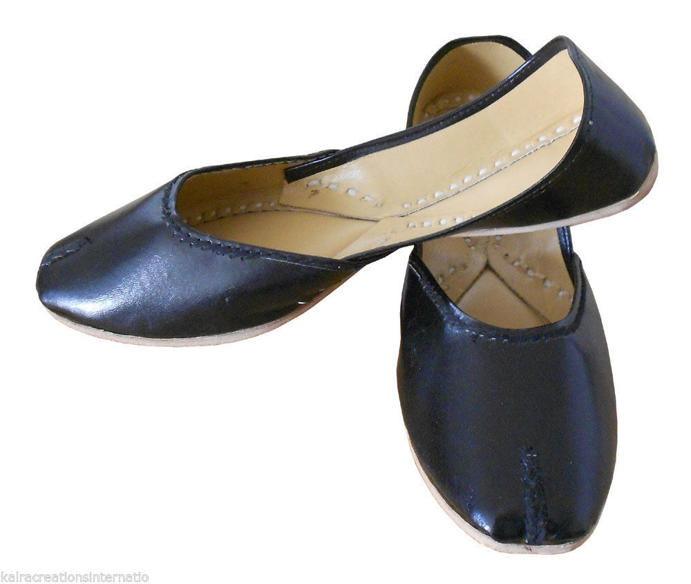 Primary image for Women Shoes Indian Handmade Leather Jutties Black Ballerinas Mojaries Flat US 6