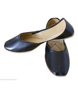 Women Shoes Indian Handmade Leather Jutties Black Ballerinas Mojaries Fl... - $37.99